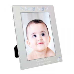 Personalised Silver Baby Boy Photo Frame