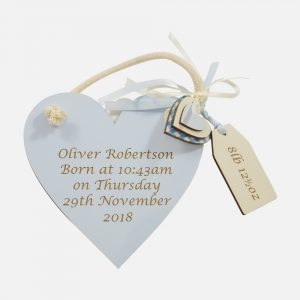 Personalised Wooden Heart Blue