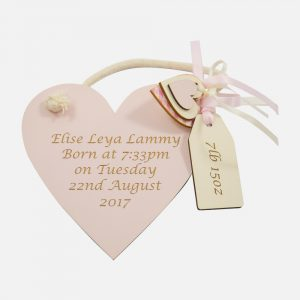 Personalised Wooden Heart Pink