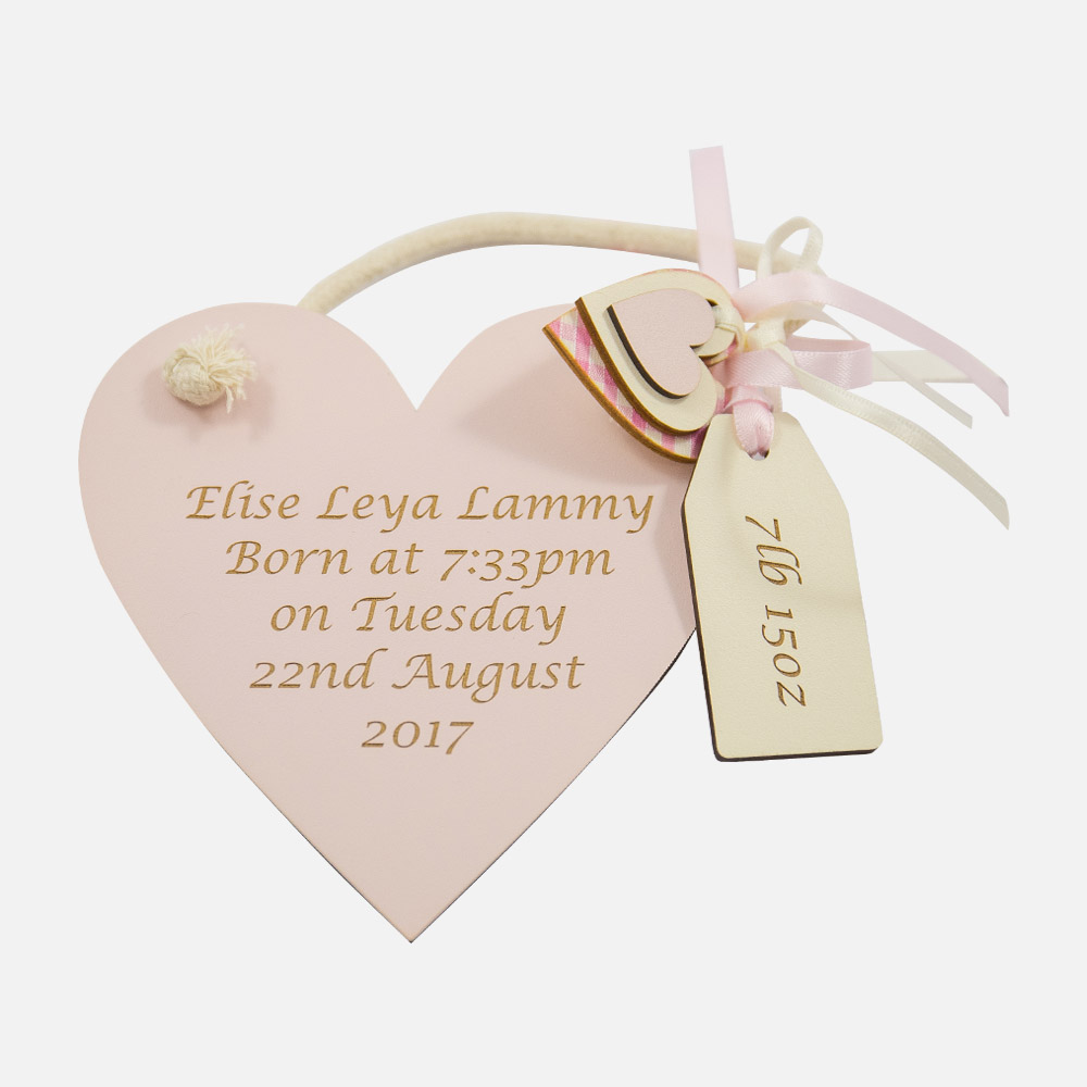 Engraved Pink Heart Shaped Birth Keepsake