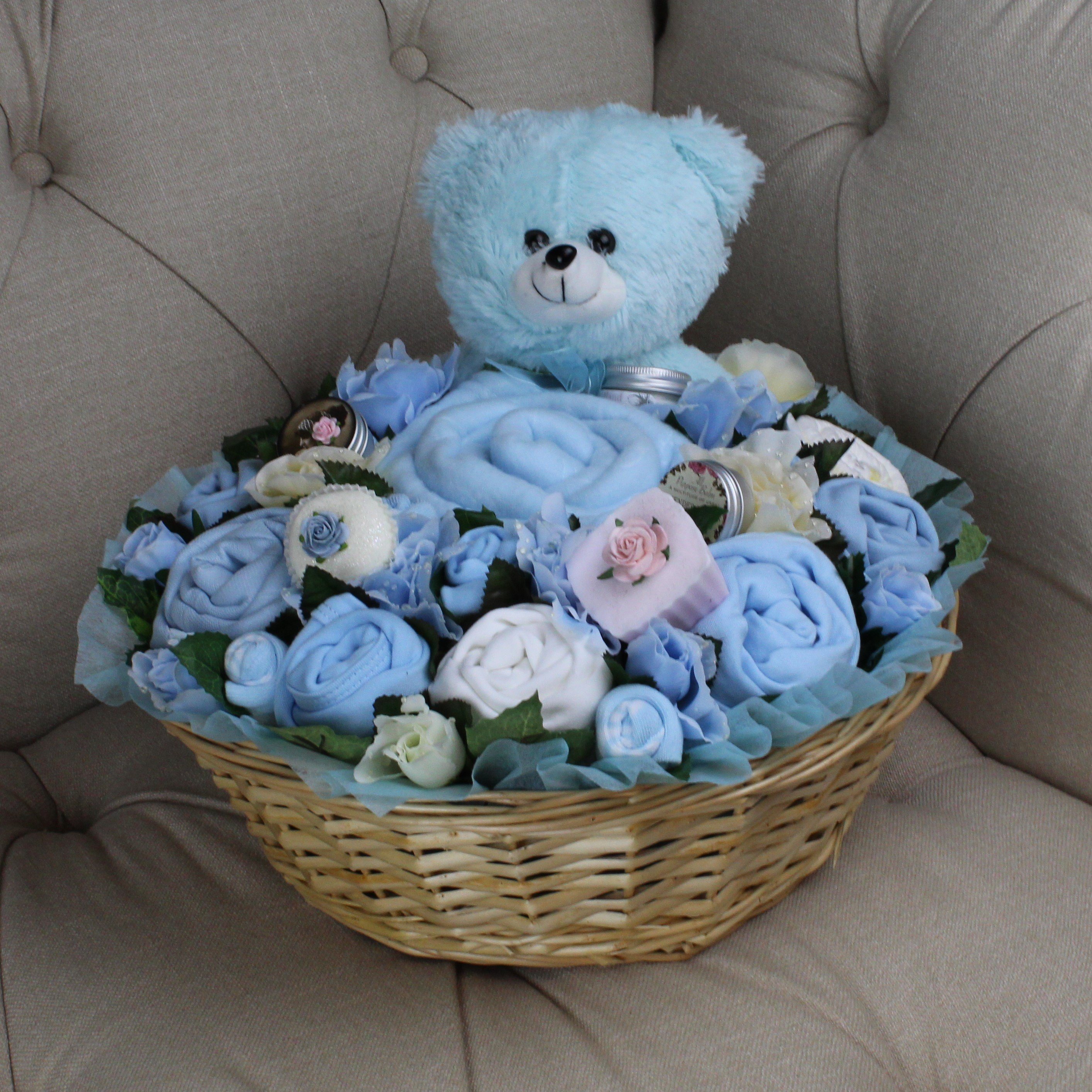 Luxurious Pampering Bouquet Blue - Baby Clothes Bouquet