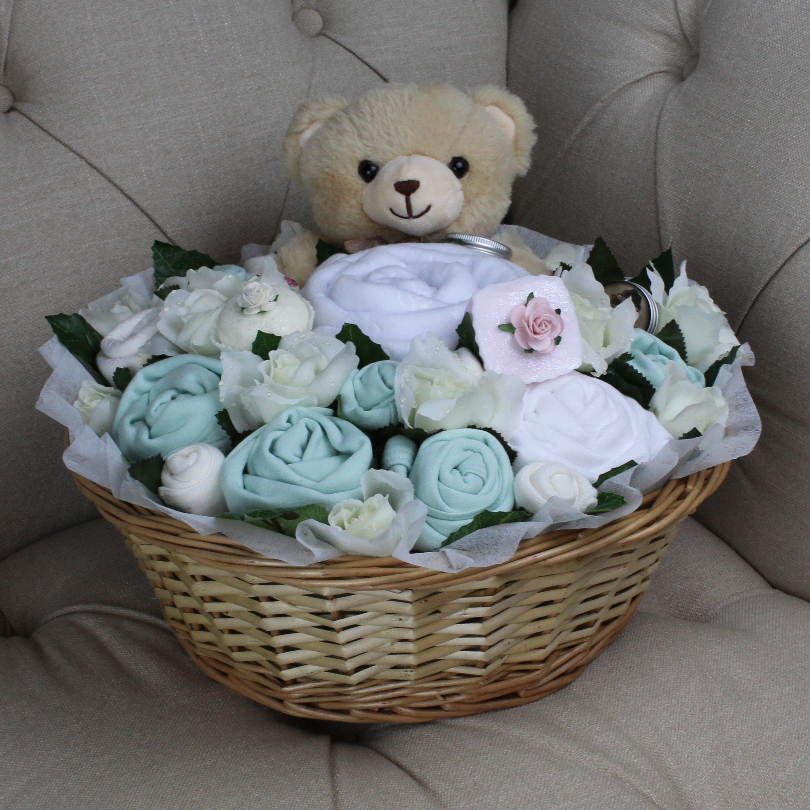 Luxurious Pampering Bouquet Mint - Baby Clothes Bouquet